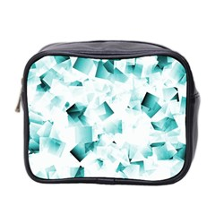 Modern Teal Cubes Mini Toiletries Bag 2 Side by timelessartoncanvas