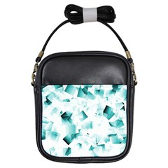 Modern Teal Cubes Girls Sling Bags by timelessartoncanvas