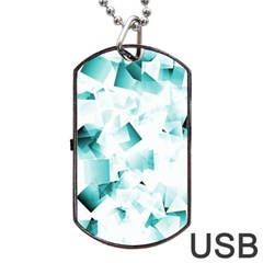 Modern Teal Cubes Dog Tag Usb Flash (one Side) by timelessartoncanvas