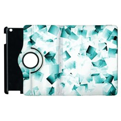 Modern Teal Cubes Apple Ipad 2 Flip 360 Case by timelessartoncanvas