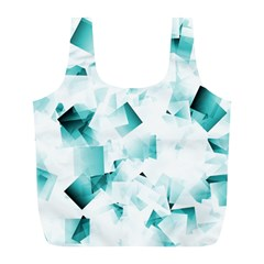 Modern Teal Cubes Full Print Recycle Bags (l)  by timelessartoncanvas