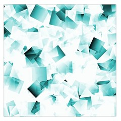 Modern Teal Cubes Large Satin Scarf (square) by timelessartoncanvas