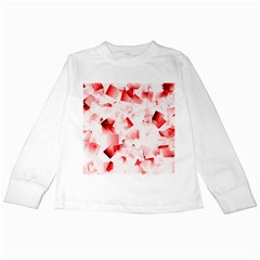 Modern Red Cubes Kids Long Sleeve T Shirts by timelessartoncanvas