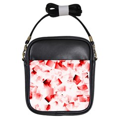 Modern Red Cubes Girls Sling Bags by timelessartoncanvas