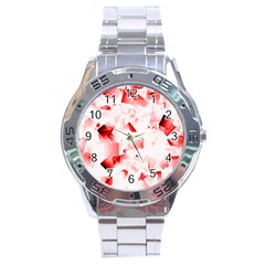 Modern Red Cubes Stainless Steel Men s Watch by timelessartoncanvas