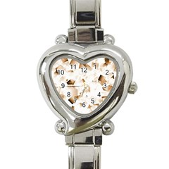 Modern Brown Cubes Heart Italian Charm Watch by timelessartoncanvas