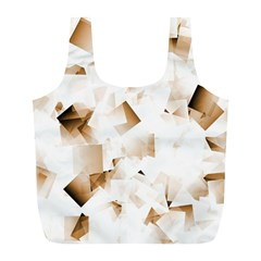 Modern Brown Cubes Full Print Recycle Bags (l)  by timelessartoncanvas