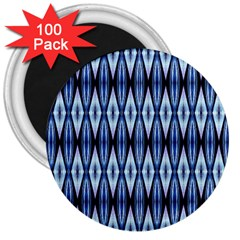 Blue White Diamond Pattern  3  Magnets (100 Pack) by Costasonlineshop