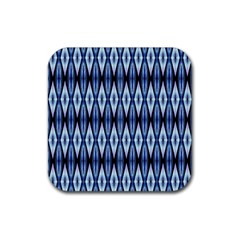 Blue White Diamond Pattern  Rubber Coaster (square)  by Costasonlineshop