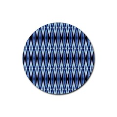 Blue White Diamond Pattern  Rubber Coaster (round)  by Costasonlineshop