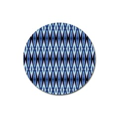 Blue White Diamond Pattern  Magnet 3  (round) by Costasonlineshop