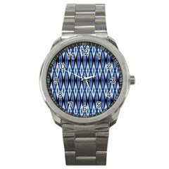 Blue White Diamond Pattern  Sport Metal Watch by Costasonlineshop