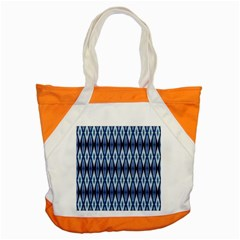 Blue White Diamond Pattern  Accent Tote Bag by Costasonlineshop