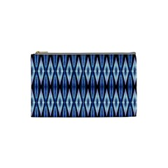 Blue White Diamond Pattern  Cosmetic Bag (small)  by Costasonlineshop