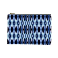 Blue White Diamond Pattern  Cosmetic Bag (large)  by Costasonlineshop