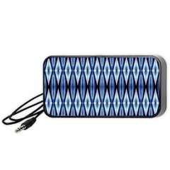 Blue White Diamond Pattern  Portable Speaker (black)  by Costasonlineshop