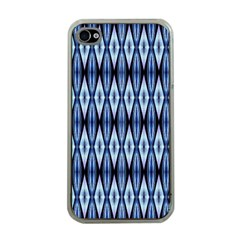 Blue White Diamond Pattern  Apple Iphone 4 Case (clear) by Costasonlineshop