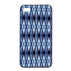 Blue White Diamond Pattern  Apple Iphone 4/4s Seamless Case (black) by Costasonlineshop