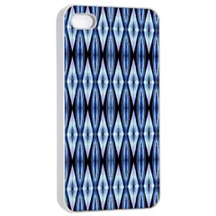 Blue White Diamond Pattern  Apple Iphone 4/4s Seamless Case (white) by Costasonlineshop