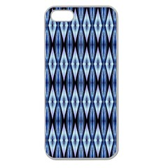 Blue White Diamond Pattern  Apple Seamless Iphone 5 Case (clear) by Costasonlineshop