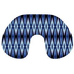 Blue White Diamond Pattern  Travel Neck Pillows by Costasonlineshop