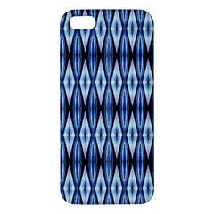 Blue White Diamond Pattern  Iphone 5s Premium Hardshell Case by Costasonlineshop