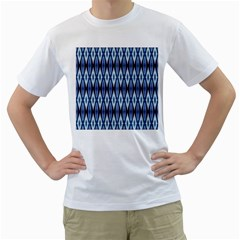 Blue White Diamond Pattern  Men s T Shirt (white)  by Costasonlineshop