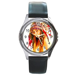 Indian 26 Round Metal Watch
