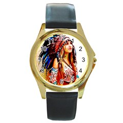 Indian 22 Round Gold Metal Watch by indianwarrior