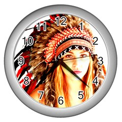 Indian 3 Wall Clocks (silver)  by indianwarrior
