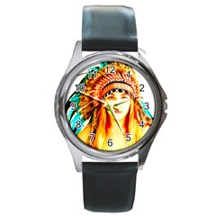 Indian 29 Round Metal Watch