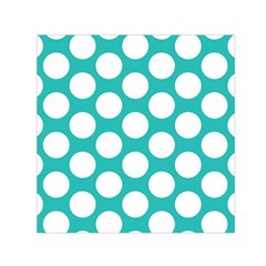 Turquoise Polkadot Pattern Small Satin Scarf (square) by Zandiepants