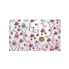 Pink Whimsical Flowers On Pink Satin Wrap by Zandiepants