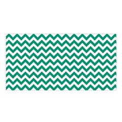 Emerald Green And White Zigzag Satin Shawl by Zandiepants