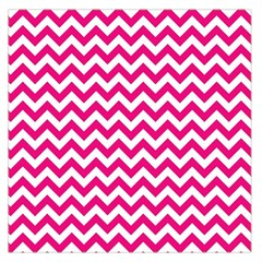 Hot Pink And White Zigzag Large Satin Scarf (square) by Zandiepants