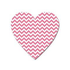 Pink And White Zigzag Heart Magnet by Zandiepants