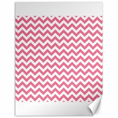 Pink And White Zigzag Canvas 12  X 16   by Zandiepants