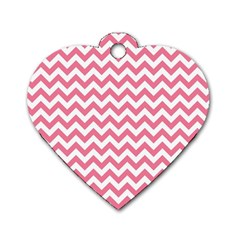 Pink And White Zigzag Dog Tag Heart (one Side) by Zandiepants