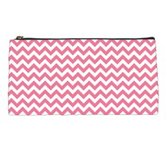 Pink And White Zigzag Pencil Cases by Zandiepants