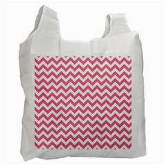 Pink And White Zigzag Recycle Bag (one Side) by Zandiepants