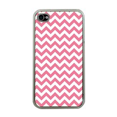 Pink And White Zigzag Apple Iphone 4 Case (clear) by Zandiepants
