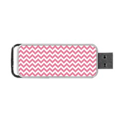 Pink And White Zigzag Portable Usb Flash (one Side) by Zandiepants