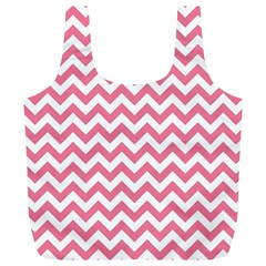 Pink And White Zigzag Full Print Recycle Bags (l)  by Zandiepants