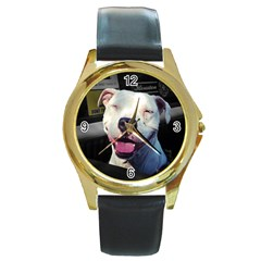 Smile Round Gold Metal Watch by ButThePitBull