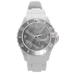Gray Fog Round Plastic Sport Watch (l) by timelessartoncanvas