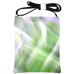 Green And Purple Fog Shoulder Sling Bags by timelessartoncanvas
