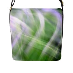 Green And Purple Fog Flap Messenger Bag (l)  by timelessartoncanvas