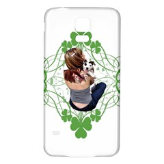 Pit Bull T Bone Lucky Puppy Samsung Galaxy S5 Back Case (white) by ButThePitBull