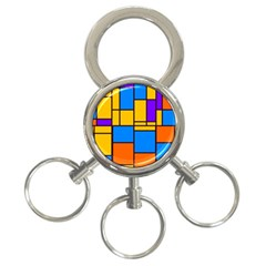Retro Colors Rectangles And Squares 			3 Ring Key Chain by LalyLauraFLM