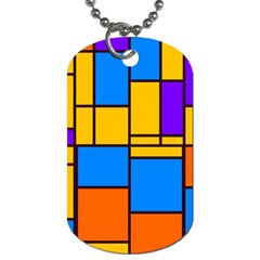 Retro Colors Rectangles And Squares 			dog Tag (one Side) by LalyLauraFLM